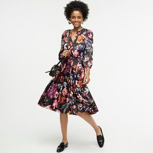J Crew Pleated A-line Skt in Midnight Floral NWOT